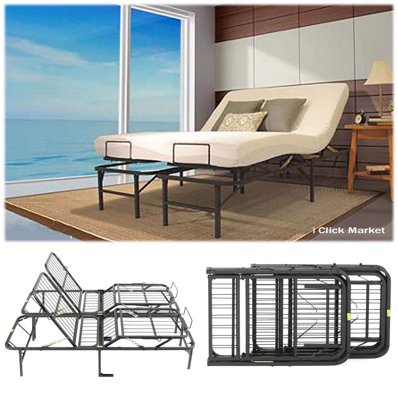 King Size Head Foot Adjustable Bed Frame Lift Furniture Metal ...