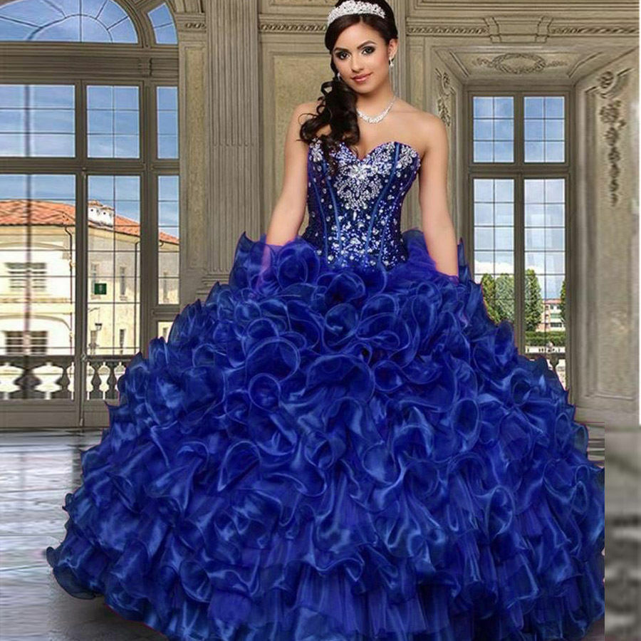 Stock Ball Gown Quinceanera Dresses Sweethert Crystals Vestidos ...
