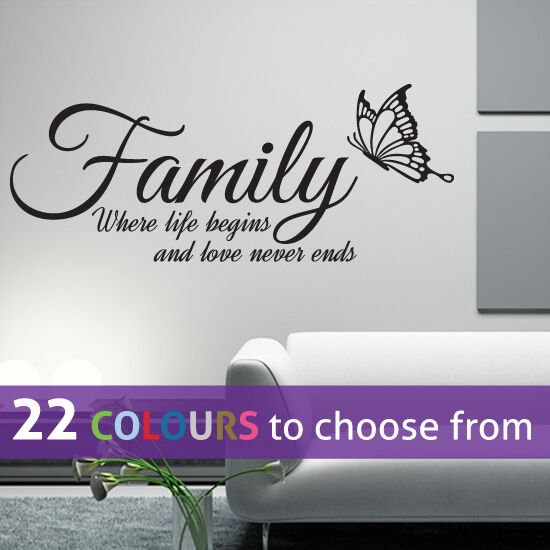family where life begins and love never ends quote wall art sticker