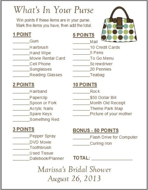 24 personalized what 39 s in your purse bridal shower game ebay for Non traditional bridal shower games
