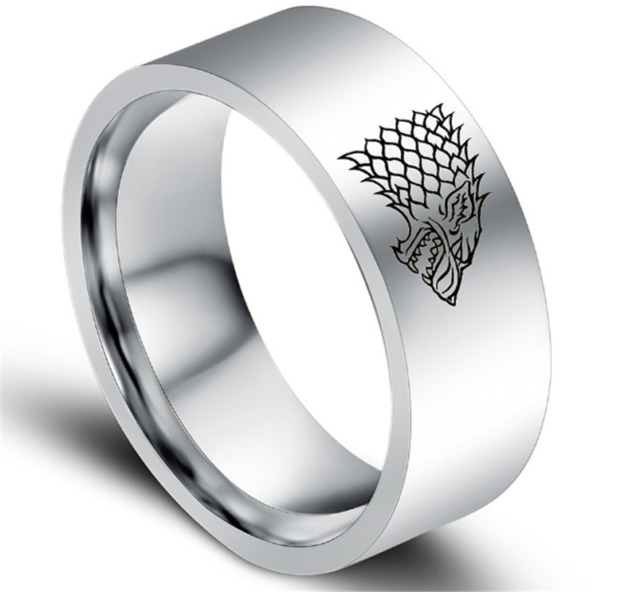 Mens Ring Stainless Steel Game of Thrones Ice Wolf House Stark of