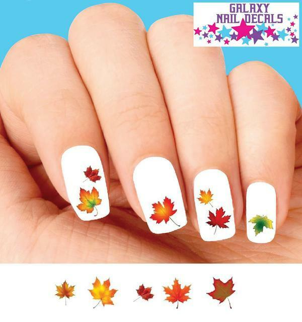 Waterslide Nail Decals Set of 20 - Fall Autumn Leaves Assorted | eBay