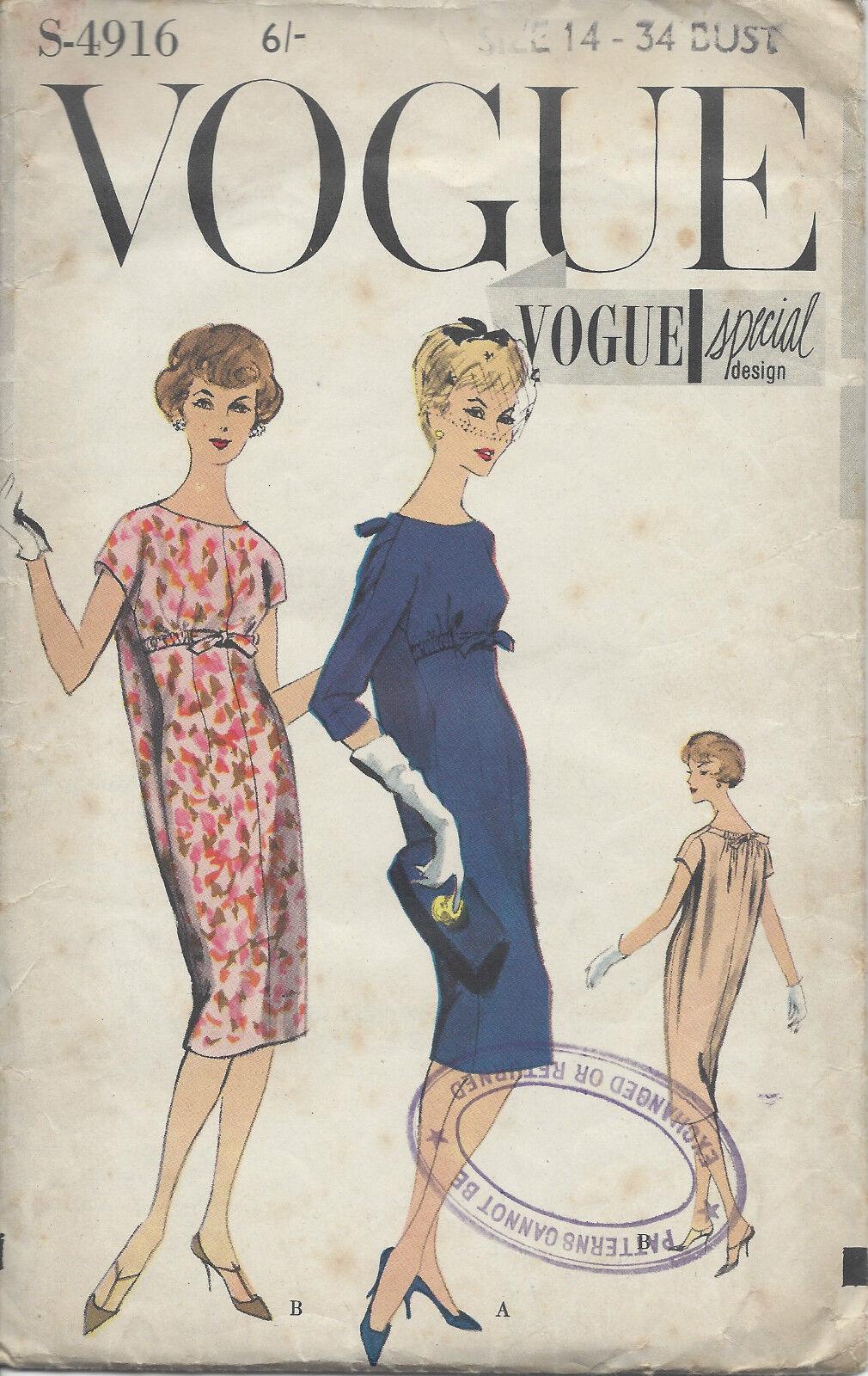 1958 Vintage Vogue nähe Muster B34 Kleid (r970)   eBay