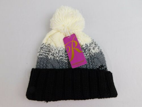 2f8a1436e9f Rampage Women s Cable-Knit Pom Pom Winter Beanie Hat Black White  7946