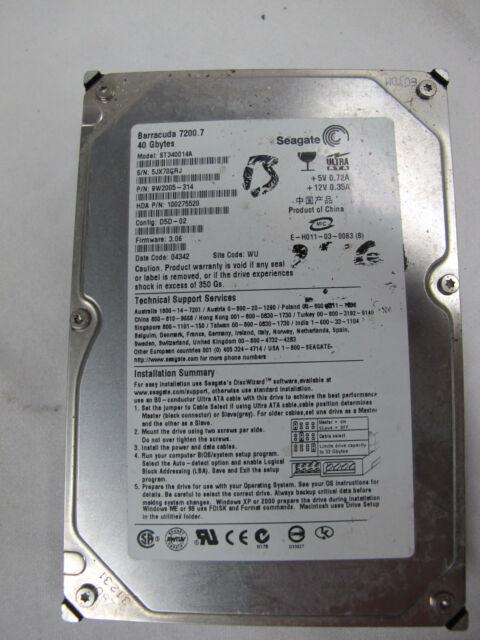 80gig SEAGATE IDE / PATA HDD  MODEL : ST340014A Tested OK