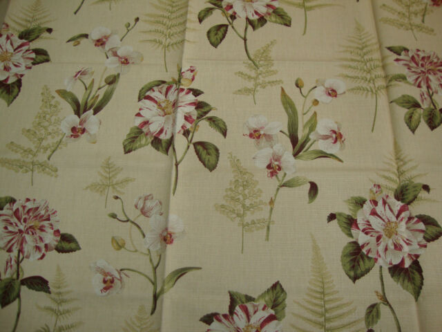 105cm SANDERSON Lavinia Fern Shabby Chic Upholstery Fabric Remnant Orchid Rose