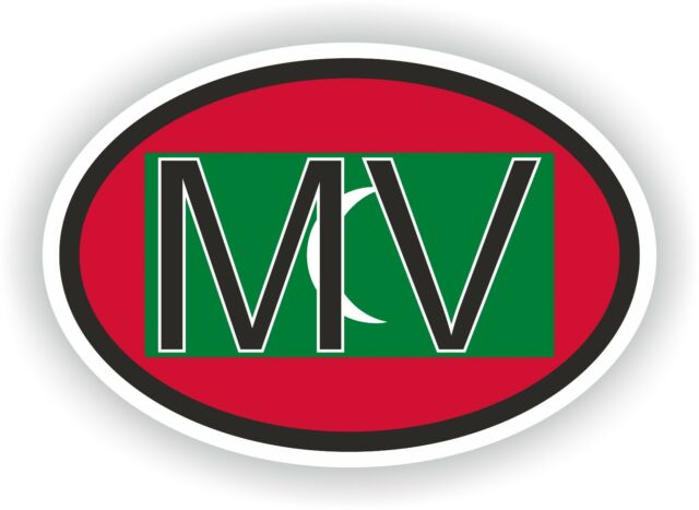Maldives country code oval with flag and mv sticker bumper decal car laptop door