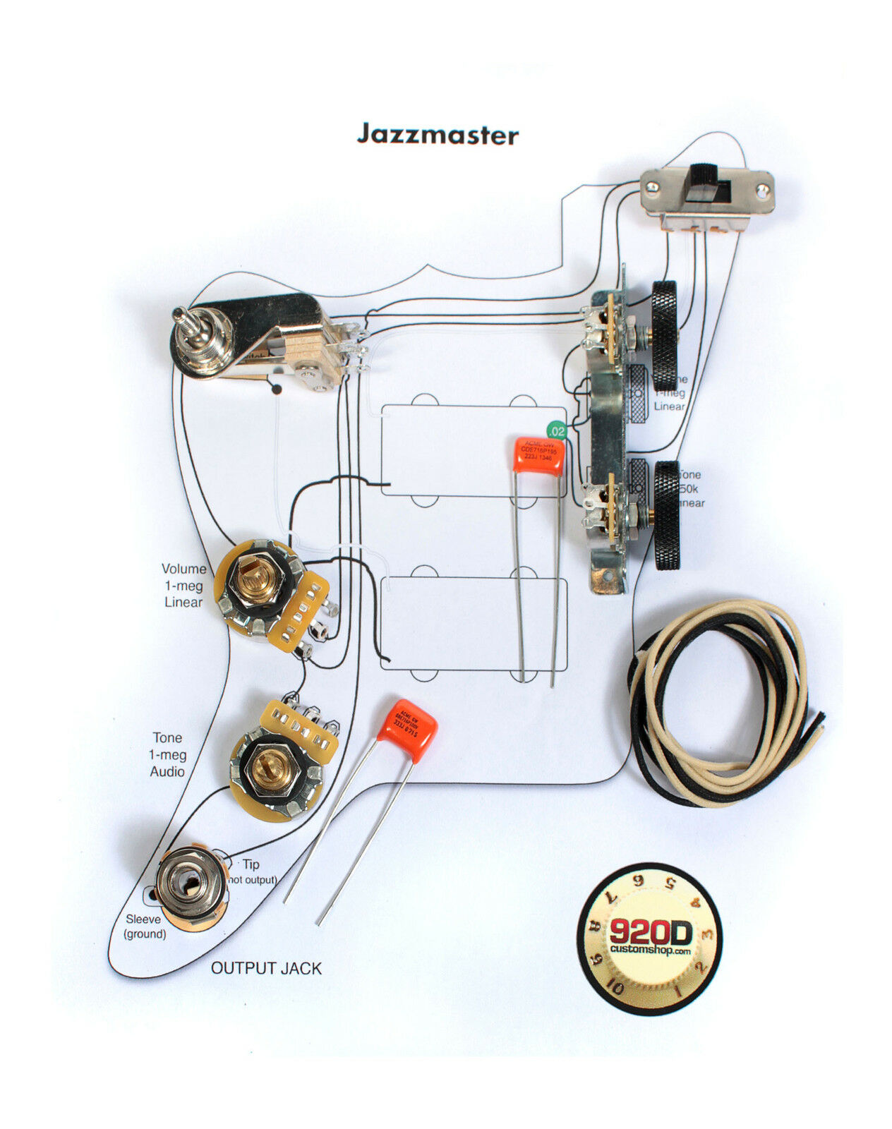 s l1600 fender vintage jazzmaster wiring kit pots switch slider caps fender jaguar wiring diagram at bayanpartner.co