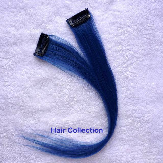 12blue Human Hair Clip In Extensions For Highlight Ebay