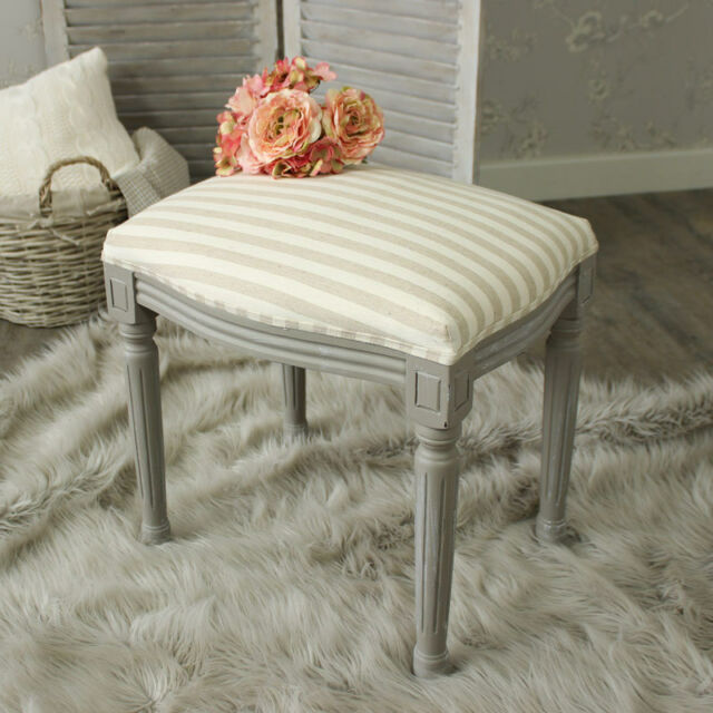 bedroom stool. French Grey dressing table stool distressed shabby chic fabric top bedroom  home Dressing Table Stool Chair Seat Office Bedroom