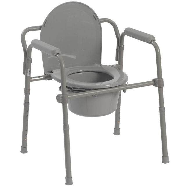 folding bed side commode portable toilet seat bucket container adult potty aid ebay. Black Bedroom Furniture Sets. Home Design Ideas