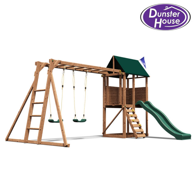 dunster house squirrelfort wooden children 39 s outdoor climbing frame play tower w ebay. Black Bedroom Furniture Sets. Home Design Ideas