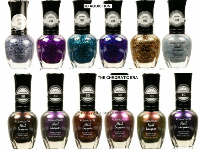 12 Klean Color Nail Polish 3d Addiction Glitter Chromatic Top ...