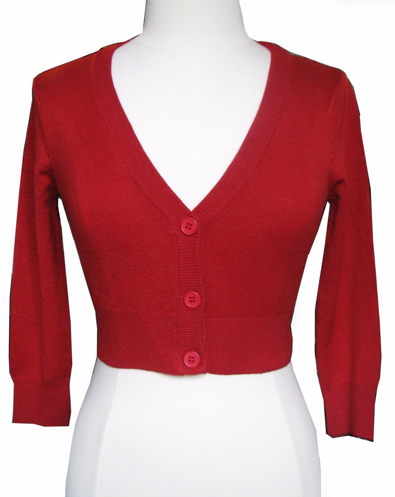 Cherry Red Cropped V-neck Cardigan Sweater Pinup Retro Rockabilly ...