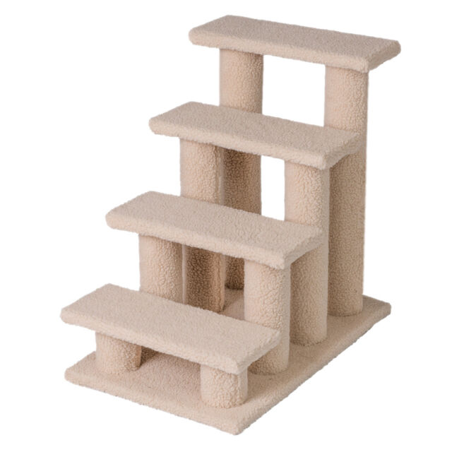 Good life 25 4 steps pet stairs carpeted ladder ramp cats for Cat tree steps