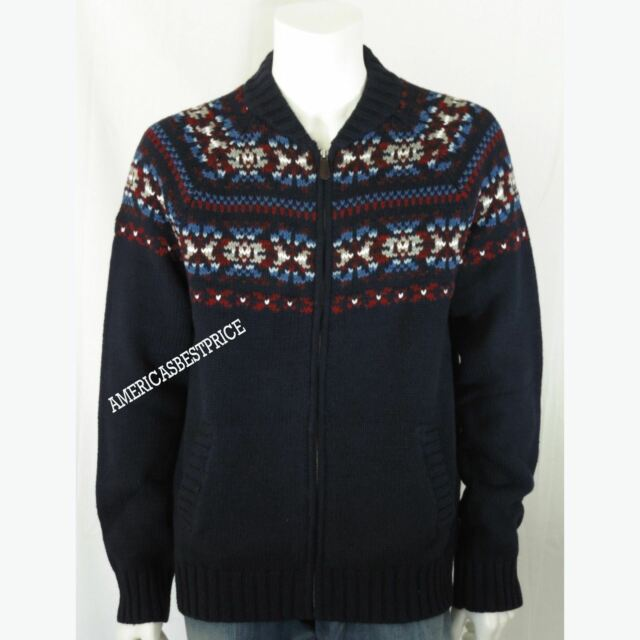 Tommy Hilfiger Men's Full Zip Navy Wool/cotton Fair Isle Cardigan ...
