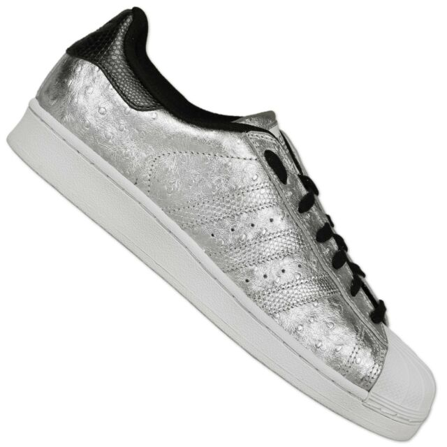 Adidas Originals Superstar Sneakers scarpa pelle di struzzo ARGENTO 42 2/3 UK