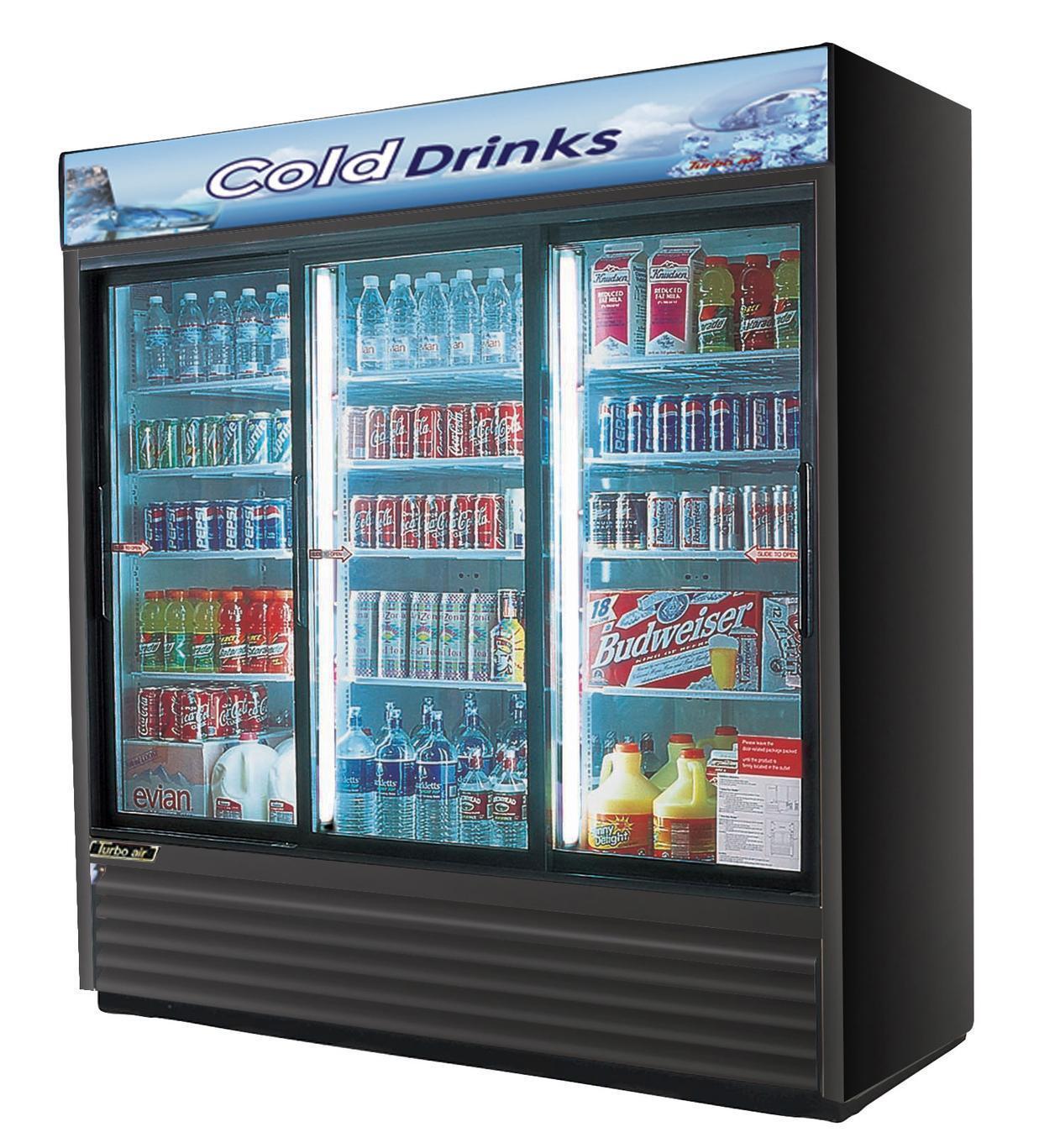 Turbo Air Tgm-69rb Commercial Refrigerator 3 Sliding Glass Doors ...