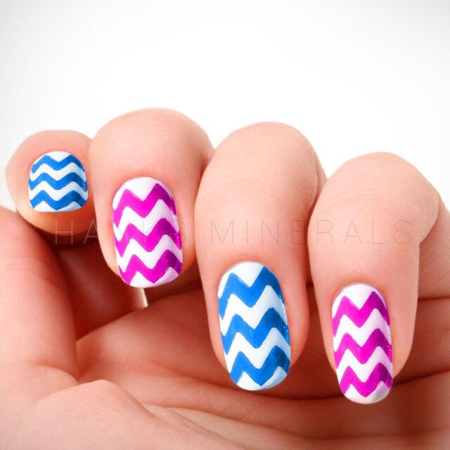 2x Chevron Nail Stickers 60pc Guides Tips White Manicure Art Zig