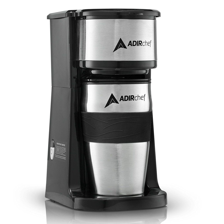 AdirChef Grab N' Go Personal Coffee Maker with 15 oz. Travel Mug Black/