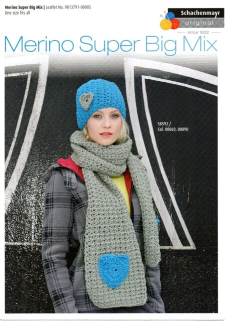 Smc Merino Super Big Mix Knitting Pattern For Cap And Scarf S8592