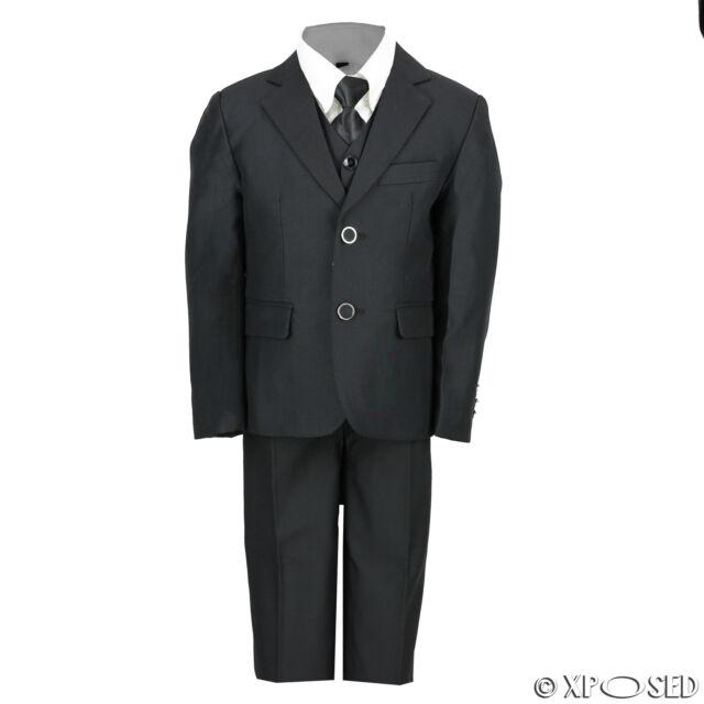 Kids Page Boys 3 Piece Black Suit Wedding Party Smart Formal Wear ...