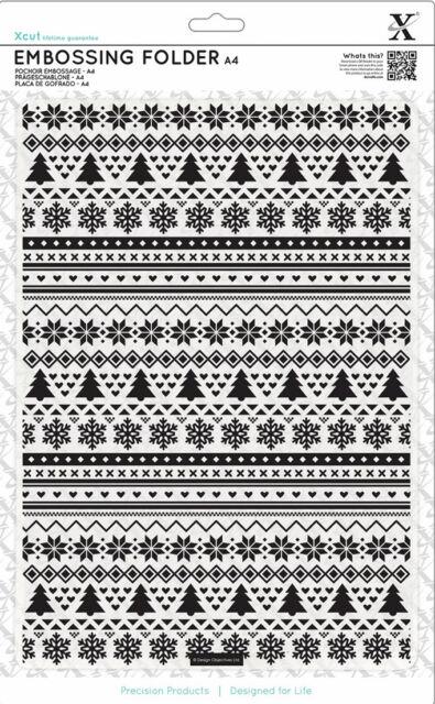 Xcut A4 embossing folder Fairisle Pattern snowflakes Christmas trees hearts kiss
