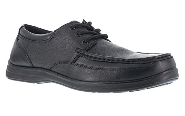 FLORSHEIM WORK Men's Wily Steel Toe Moc Toe Lace Up Shoe, Black
