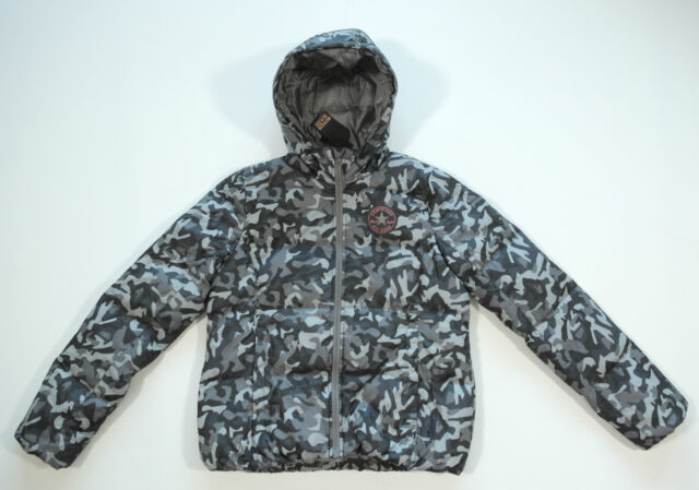 Neu All Star Converse Damen Winter Jacke Kapuzenjacke Jacket Camouflage grau