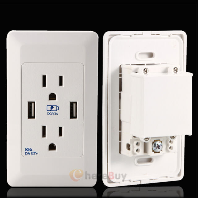 15 Amp 125 Volt Duplex Receptacle Power Outlet With Dual USB Wall ...