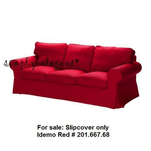 Ikea ektorp 3 seat sofa slipcover idemo red cotton ebay for Ikea sofa slipcovers discontinued