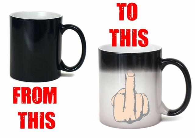 Middle Finger Mug Heat Colour Change Flip off Offensive Joke Funny
