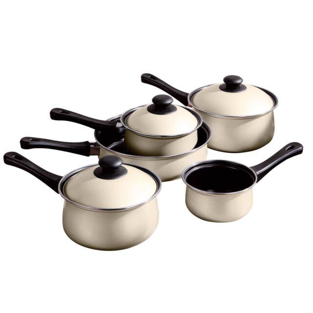 5pc Cream Belly Pan Set, Non-Stick Carbon Steel, Bakelite Handles