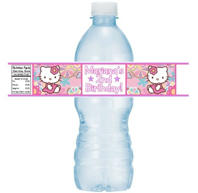 12 Hello Kitty Birthday Party Or Baby Shower Water Bottle Stickers