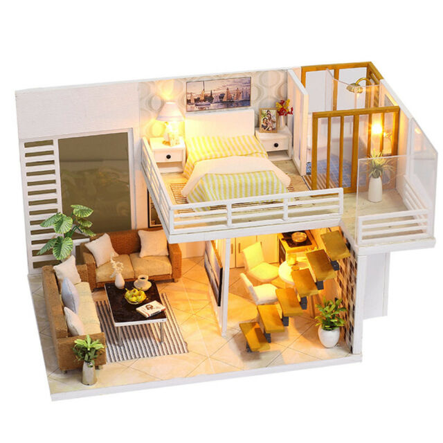 New Doll House Toy Miniature Wooden Doll House Loft With: DIY Loft Apartments Dollhouse Wooden Dust Cover Kit LED