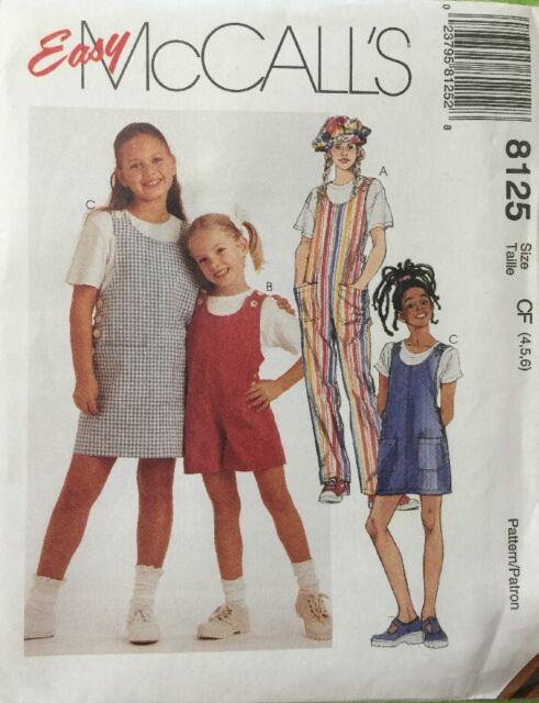 Easy McCalls Girls Children 4 5 6 Sewing Pattern 8125 Jumpsuit ...