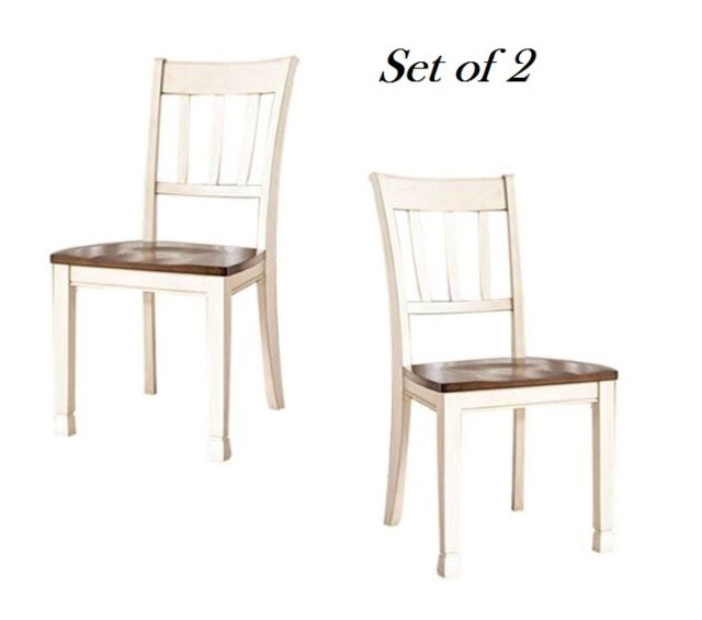 Farmhouse Cottage White Wood Dining Chairs Home Room Kitchen Set Of 2 New