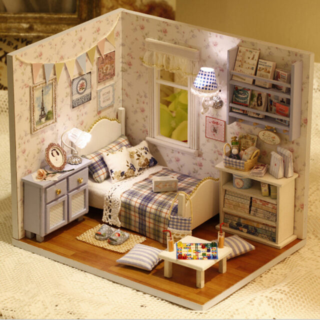 1X DIY Kids Miniature Doll House Toy Wooden House With Furnitures Model Kit  SP