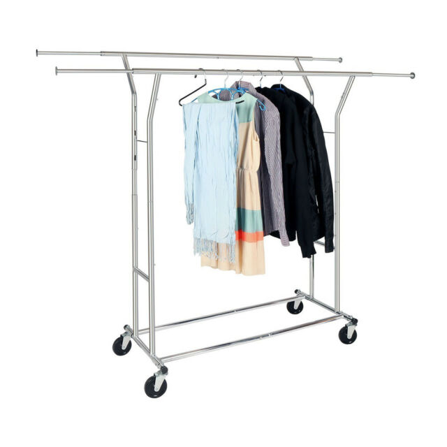 Commercial Grade Adjule Clothing Rolling Double Garment Rack