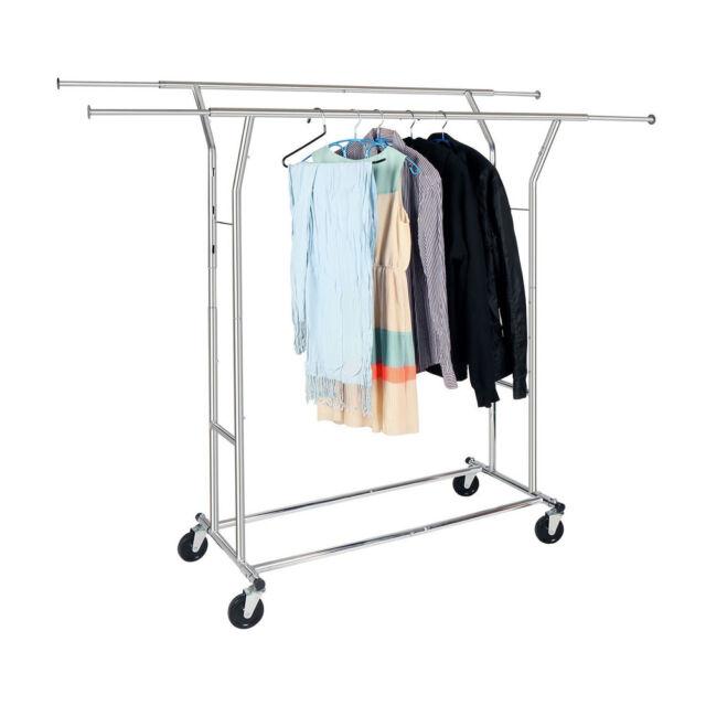 Charmant Commercial Grade Adjustable Clothing Rolling Double Garment Rack Hanger  Holder