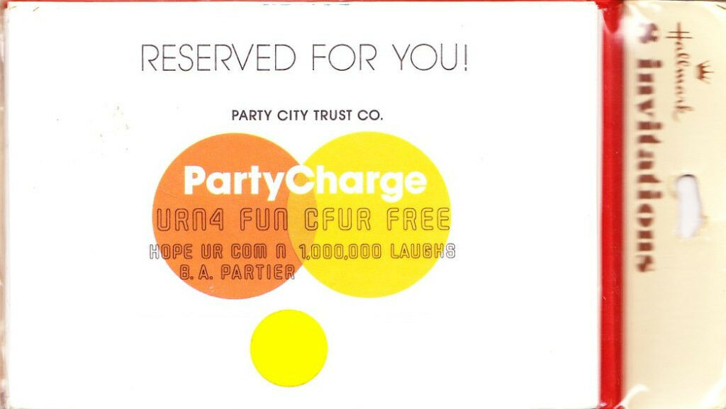 OOP Hallmark Partycharge Credit Card Party Invitations Pkg of 8 W ...