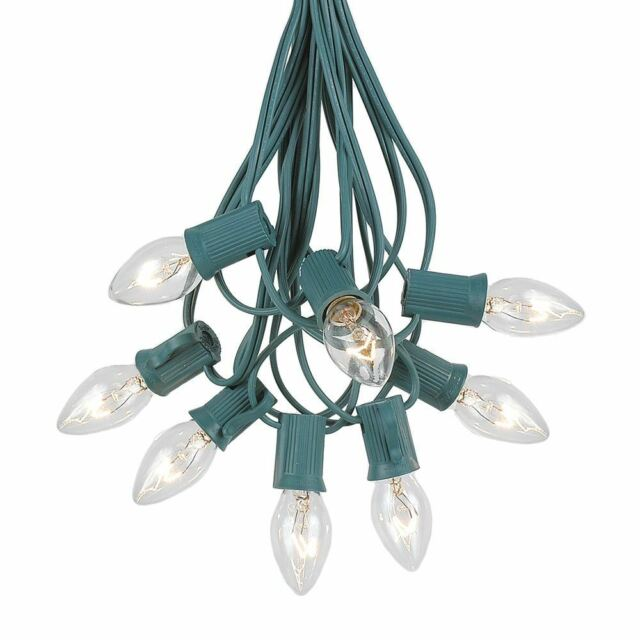 novelty lights c7 bulb outdoor patio christmas string light set green wire 25 clear