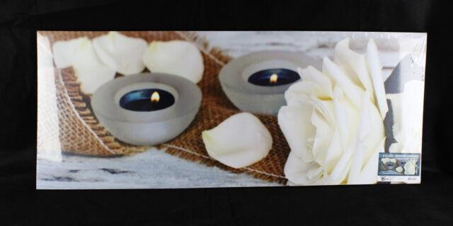 Leinwand Bild Wandbild Leuchtbild weiß Rose 2 Kerzen LED-beleuchtet NEU