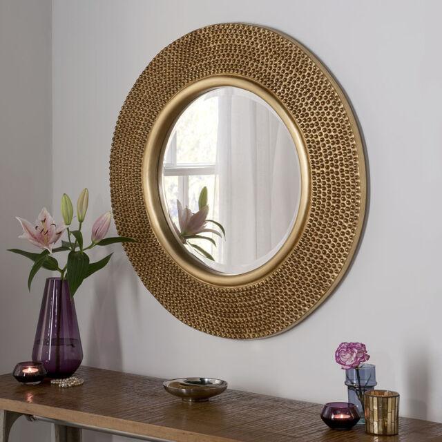 rome large round wall mirror modern gold frame art deco studded 79cm diam ebay. Black Bedroom Furniture Sets. Home Design Ideas