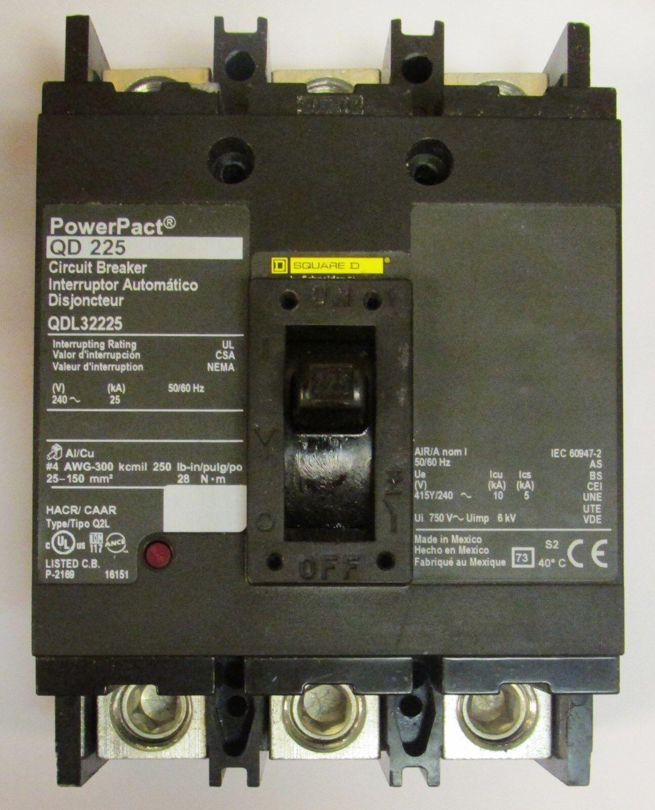 Square D Power Pact Circuit Breaker QDL3225 QD 225 Amps 3 Pole ...