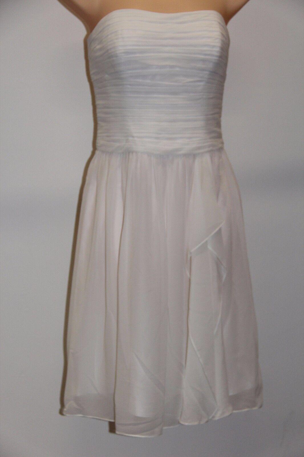 Lauren Ralph Lauren 8151 Womens White Ruched Prom Evening Dress Gown ...