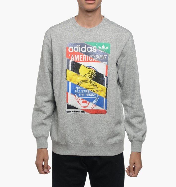 Adidas Etichette Lingua Originali Equipaggio Lingua Etichette Graphic Collage Felpa b2026f