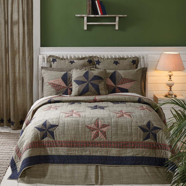 Vincent Star 100 Cotton King Quilt Navy Tan Trip Around The World Comforter