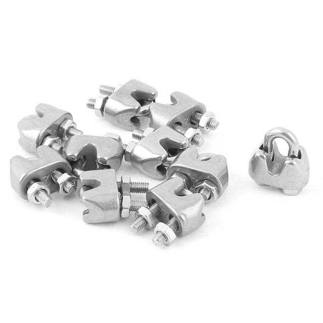 10pcs 2mm 1/16 Inch Stainless Steel Wire Rope Cable Clamp Fastener ...