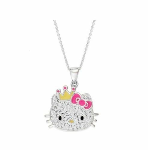 Hello kitty necklace sterling silver crystal princess kitty pendant hello kitty necklace sterling silver crystal princess kitty pendant ebay aloadofball Image collections